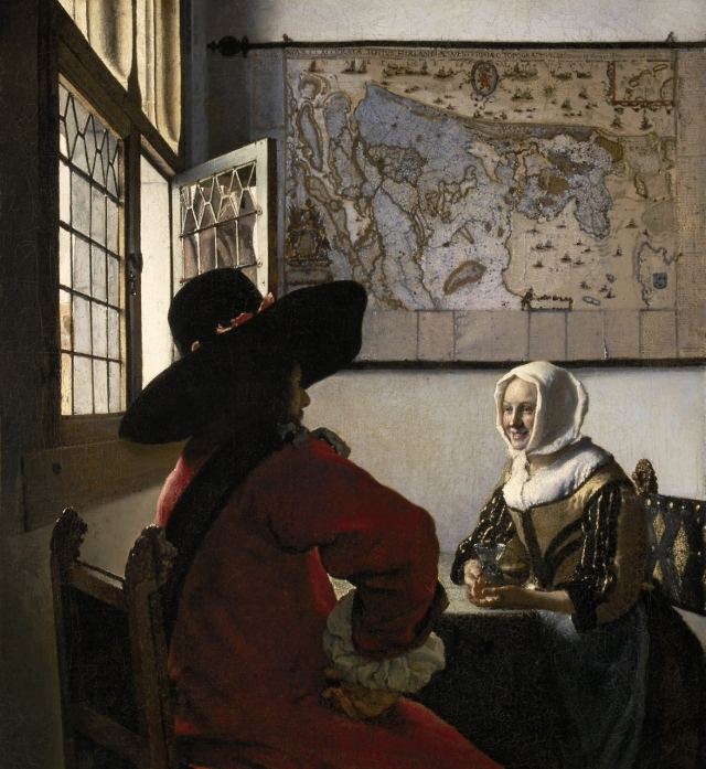Johannes Vermeer, Soldat et jeune fille souriant (ca. 1658), The Frick Collection, New-York